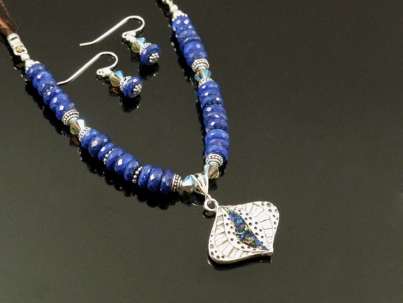 Classic Blue Jewellery Set, Necklace and Drop Earrings with Lapis, and Dichroic glass