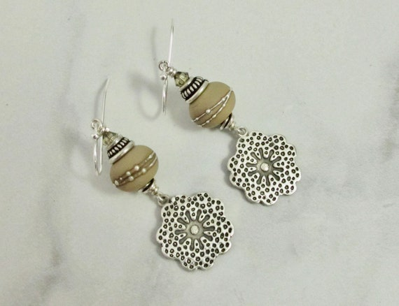 Taupe, Beige, Fine silver, Earrings