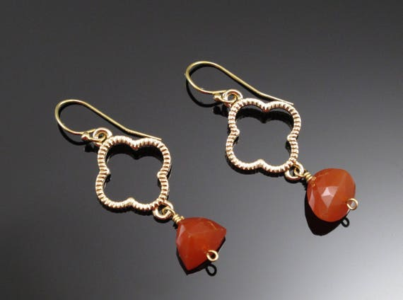 Handmade Gold and Burnt Orange Carnelian Quatrefoil Earrings