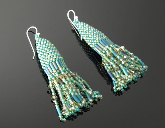 Earrings,  Handmade beaded Turquoise and Olive Swarovski Crystal Earrings