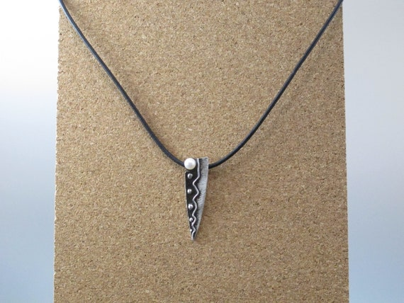 Fine Silver Necklace with Black Leather and Pearls