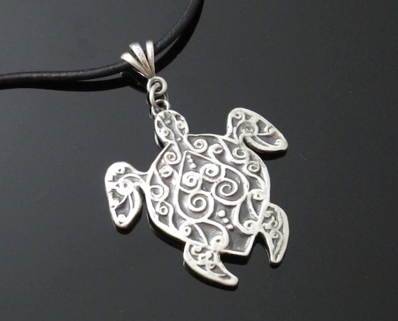 Turtle Necklace Handcrafted Fine Silver