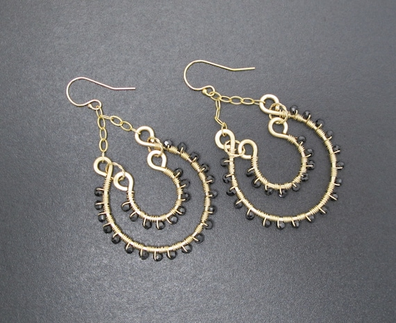 Handmade chandelier , Boho Earrings, Gold Filled and Black Spinel Double Hoop