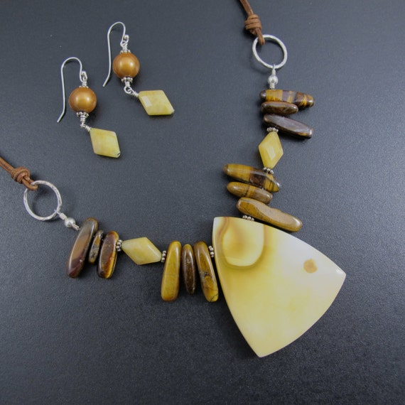 Necklace and Earring Set  - Jasper and Tiger Eye