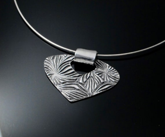 Handmade Fan Pendant Necklace,  Fine Silver Fan with Sterling silver Chain