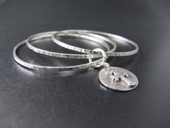 Bracelet, Three Sterling Bangles with Sterling Cross, Handmade