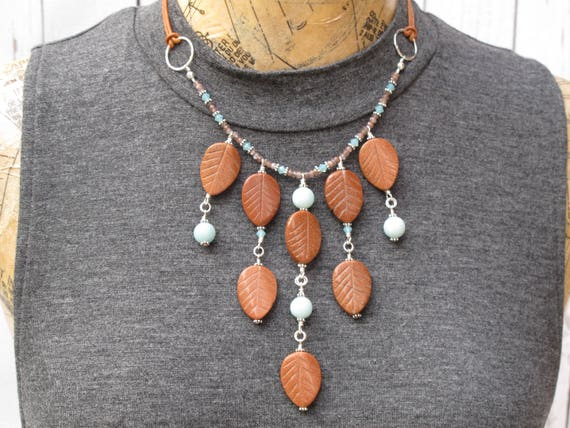 Leaf Statement Bib Necklace, Handmade Necklace Goldstone Leaves and Blue Amazonite Island Paradise