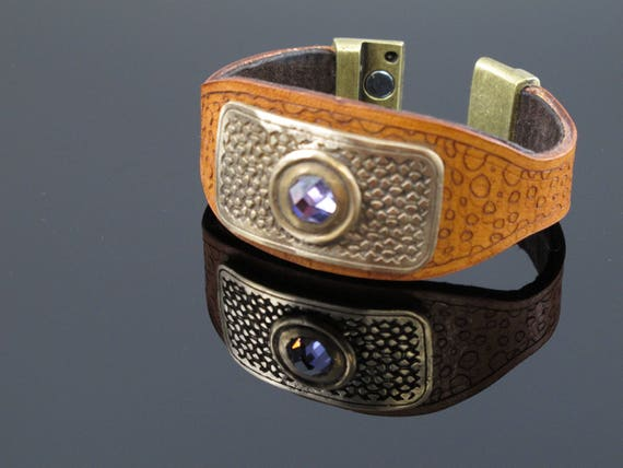 Handcrafted Bracelet Cuff made from Leather, Bronze and Crystal with Magnetic Clasp