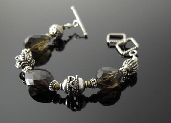 Brown Bracelet, Heavy Sterling and Smoky Quartz