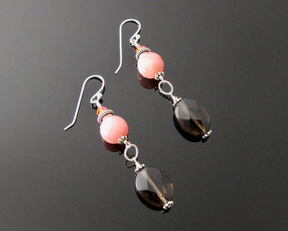Dangle Earrings, Brown, Pink and Sterling Silver