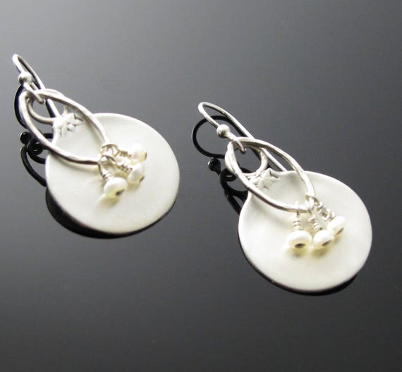Unique Earrings, Upcycled Jewelry,  Handmade Sterling Salt Spoon Earrings