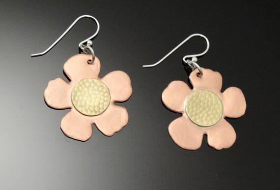 7th anniversary Flower Jewelry, Brass and Copper Mixed Metal Earrings