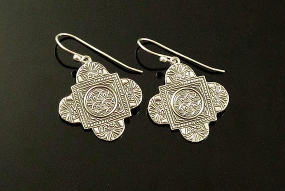 Earrings,  Handmade with Fine Silver