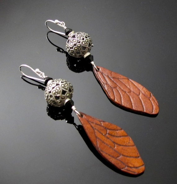 Leather earrings, Leather Jewelry with Sterling Silver, Marcasite and Leather wing