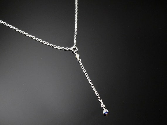 Bridal Jewelry,  Delicate Y necklace of Sterling silver and Crystal made to order