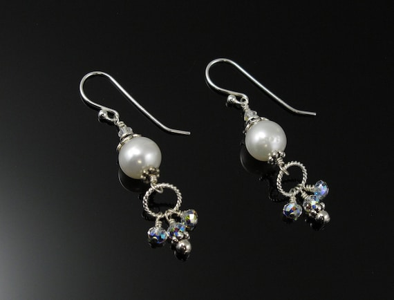 Wedding Earrings, Pearl, Sterling and Swarovski Crystal Bridal Earrings