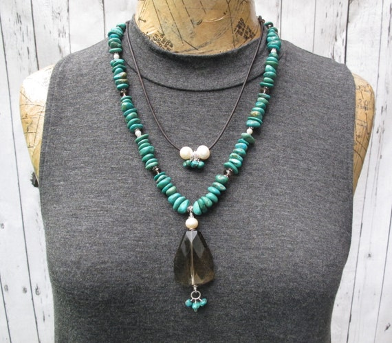 Necklace with Turquoise, Sterling Silver, Brown beads, Pearls and leather multi length necklace
