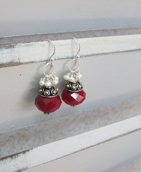 Earrings with Sterling Silver, red stones and White, Freshwater Pearls