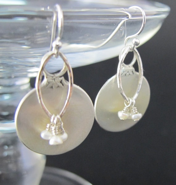 Earrings, Upcycled Jewelry,  Handmade Sterling Salt Spoon Earrings