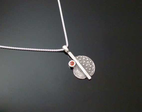 Sapphire Necklace,  Orange Sapphire Handcrafted in Fine Silver