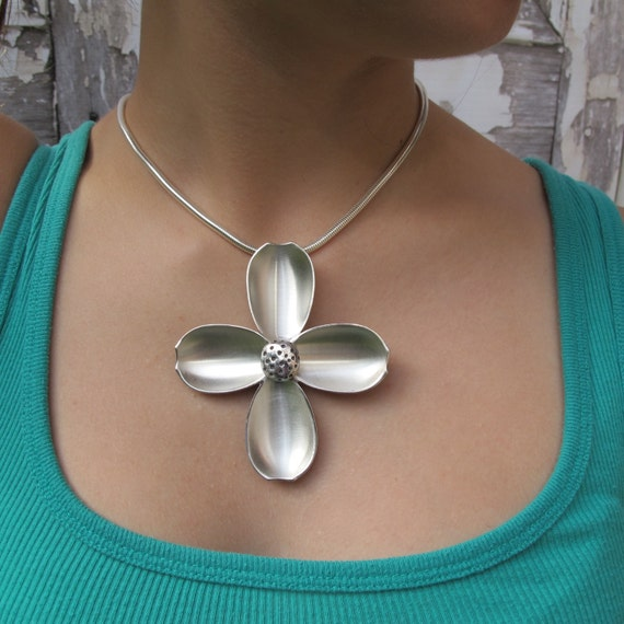 Dogwood Necklace, Dogwood made from Antique Sterling Demitasse Spoons Upcycled into Flower Jewelry