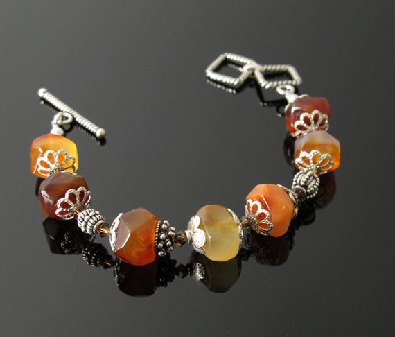 Autumn Colors, Bracelet with heavy Sterling Silver,Multi Colored Stones and sterling bead caps