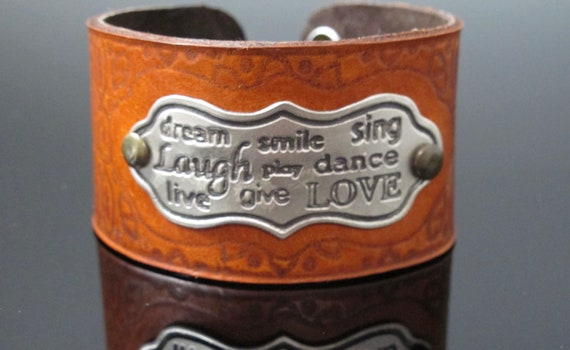 Dance,Sing, Love, Positive Words,  Leather and Sterling Cuff Bracelet