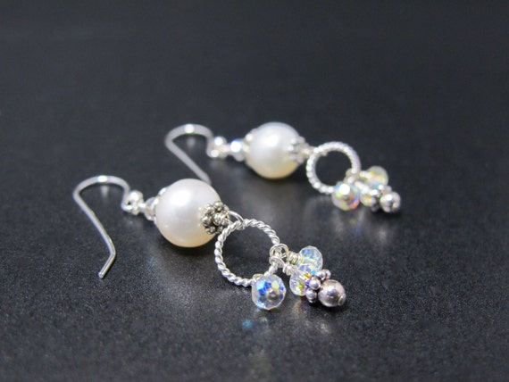 Earrings, Pearl, Sterling and Swarovski Crystal Bridal Earrings