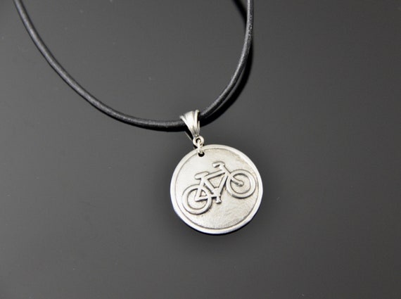 Bike Necklace, Handmade Sterling Silver and Black Leather