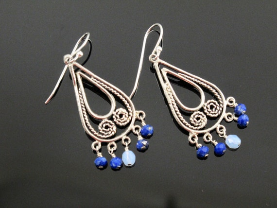 Blue Earrings, Sterling, Lapis and Czech Fire-Polish beads