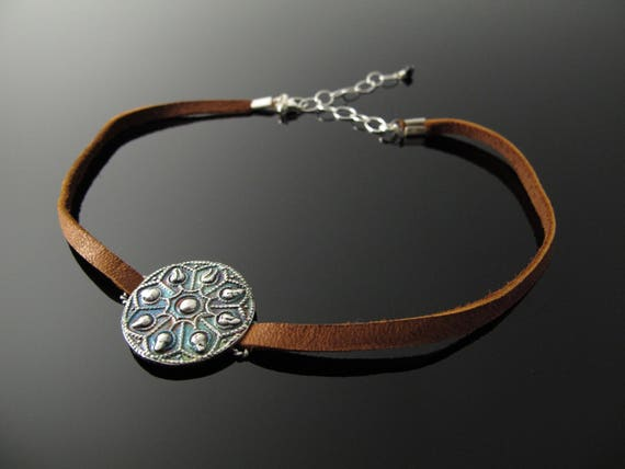 Choker Necklace in Fine Silver and Leather
