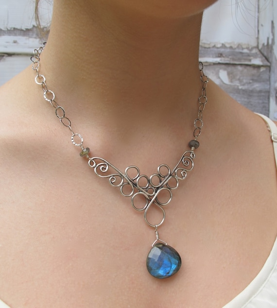 Jewellery,  Blue Necklace, Labradorite Statement, Scroll  Necklace Sterling and Labradorite
