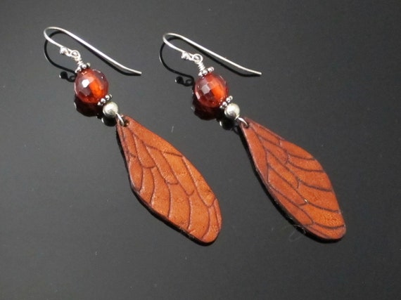 Wing Earrings, Leather Wing and Sterling Earrings