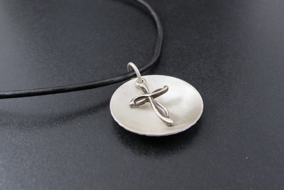 Cross Necklace in Sterling Silver with Black Leather Cord