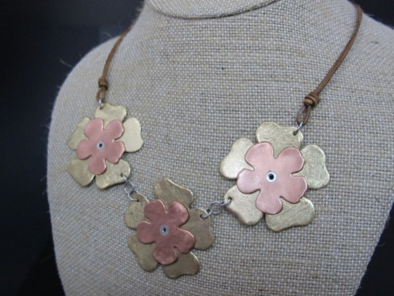 7th Anniversary Flower Jewelry, Mixed Metal Flower Necklace