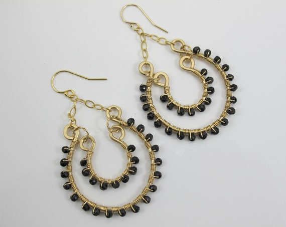 Earrings, Gold Filled, Boho, Black Spinel Double Hoop Handmade Earrings