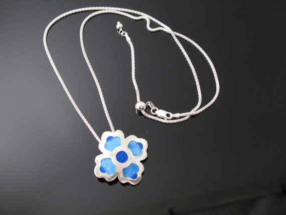 Flower Necklace, Handmade with Fine Silver, Enamel and Sterling Silver