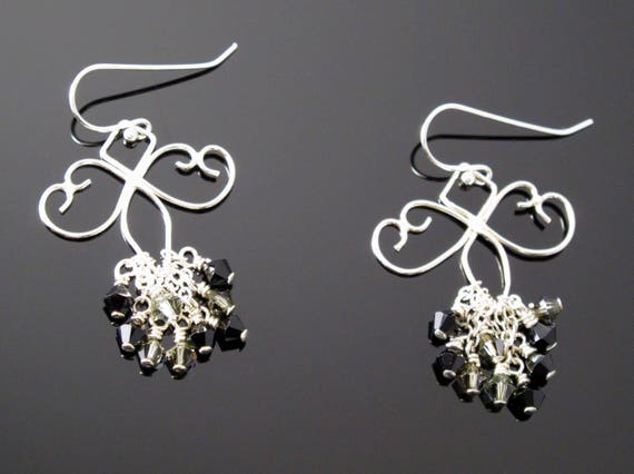 Handmade Sterling Earrings with Black and Grey Swarovski Crystal
