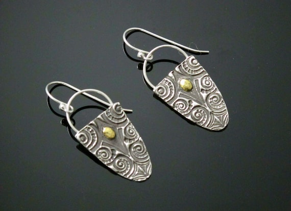 24K accent Earring Jewellery, Handcrafted in Fine Silver and 24k Gold