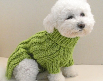 Cable Dog Sweater - Chihuahua Clothes - Pet clothing - Small Dog by BubaDog