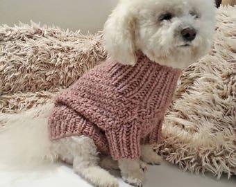 cf11534054f9 Dog Sweater - Knit Dog clothes - Dusty Rose Dog Sweater - Small dog Clothes  - Handmade Pet Clothing / BubaDog clothing