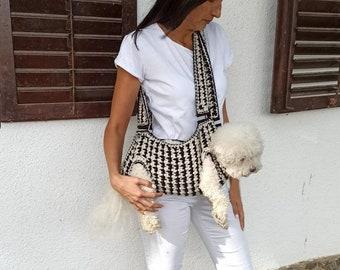 Dog sling / Pet carrier / Crochet dog carrier / Pet sling / Ready to wear /BubaDog pet sling carriers