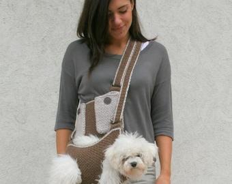 Pet carrier / Crochet dog carrier / Dog sling carrier with pockets / BubaDog pet carriers