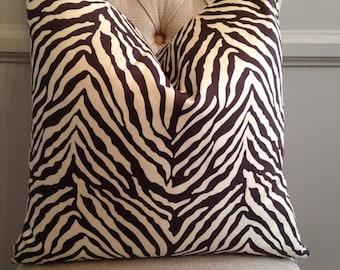 Handmade Decorative Pillow Cover - Chocolate Brown - Zebra - Animal Print
