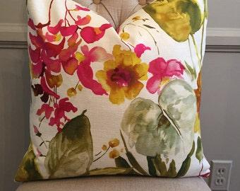 Handmade Decorative Pillow Cover - Bold Floral - Mill Creek Magnifica Splendid - Green - Pink - Yellow