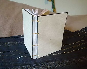 Coptic Stitch Journal - A6 - Parchment with Black Trim - 200 Pages