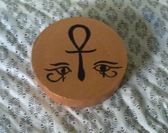 Pagan - Round Portable Altar Box - Egyptian - Copper and Silver with Ankh and Eye of Horus