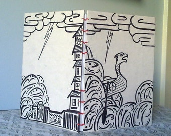 Coptic Stitch Journal - A5 - Norse - Thor - Viking Boat On Stormy Seas - Parchment, Black, Red