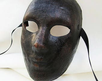 neutral mask androgynous dark leather costume cosplay larp renaissance wicca pagan magic burning man fantasy commedia arte comedy theater