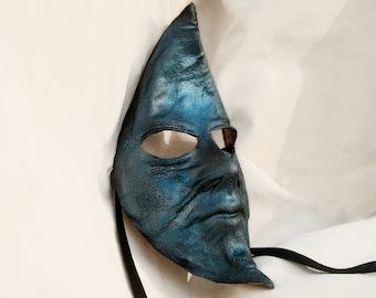 Moon mask blue leather costume cosplay larp renaissance wicca pagan magic burning man fantasy night carnival mardi gras